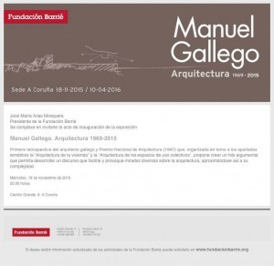 Invitación exposición Manuel Gallego_Fundación Barrié