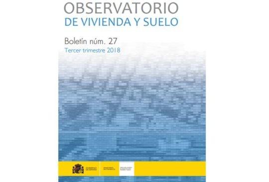 Boletín del Observatorio de Vivienda y Suelo correspondiente al tercer trimestre de 2018