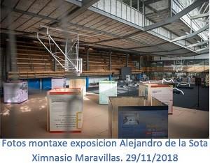 Montaxe exposición sobre Alejandro de la Sota no ximnasio Maravillas