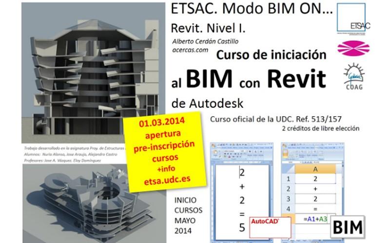 Cursos de iniciación al BIM con Revit. ETSAC. A coruña