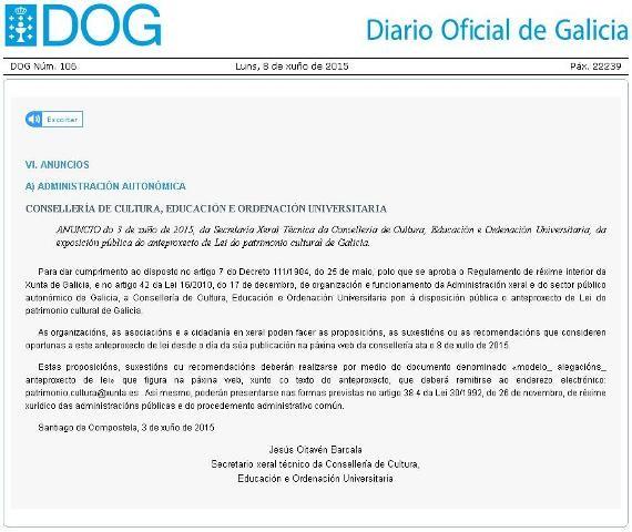 Anteproxecto de Lei de Patrimonio Cultural de Galicia. Suxerencias do COAG