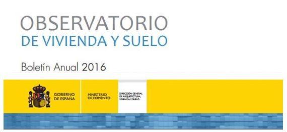 Boletín Anual 2016 del Observatorio de Vivienda y Suelo