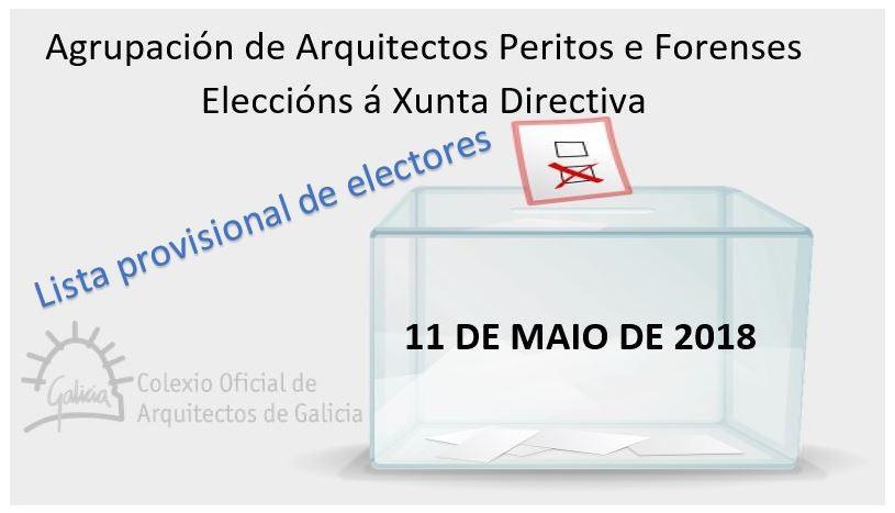Eleccións Xunta Directiva da AAPF – 11 de maio de 2018: Lista provisional de electores