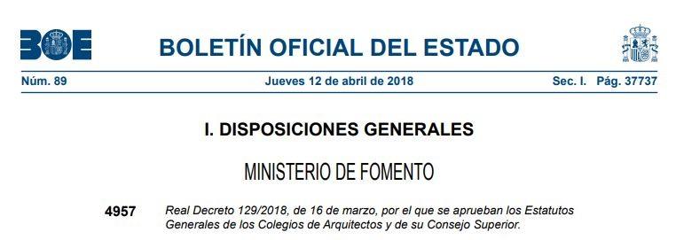Publicación en el BOE de la aprobación de los Estatutos Generales de los Colegios de Arquitectos y de su Consejo Superior