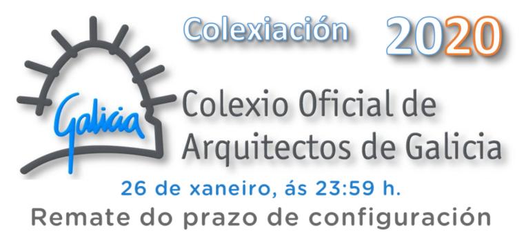 Últimos días para a configuración da colexiación 2020