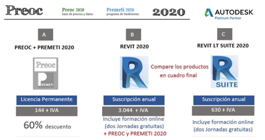 Oferta PREOC+PREMETI 2020 y REVIT 2020