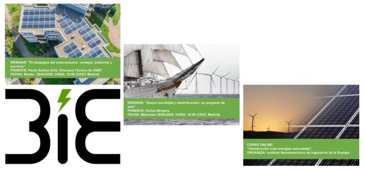 Webinars gratuitos del Instituto Iberoamericano de Ingenieros de la Energía y curso online de energías renovables