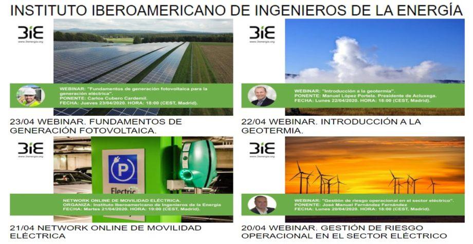 Webinars gratuítos del Instituto Iberoamericano de Ingenieros de la Energía