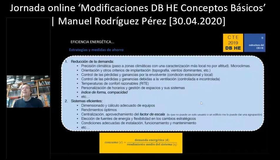 Jornada online «Modificaciones DB HE. Conceptos Básicos»