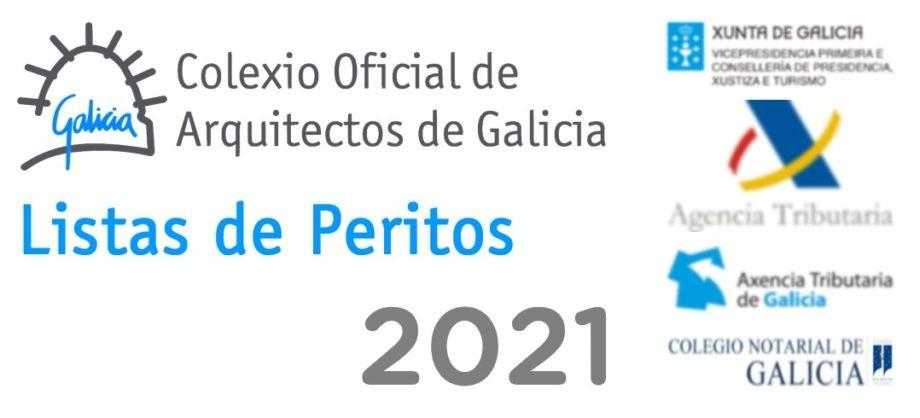 Listas de peritos do Colexio Oficial de Arquitectos de Galicia para o ano 2021