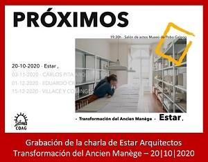 Grabación de la charla de Estar Arquitectos, dentro del ciclo «Próximos» organizado por la Delegación de Santiago de Compostela