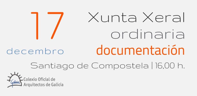 Documentación e modificación da Orde do Día da Xunta Xeral ordinaria de 17 de decembro