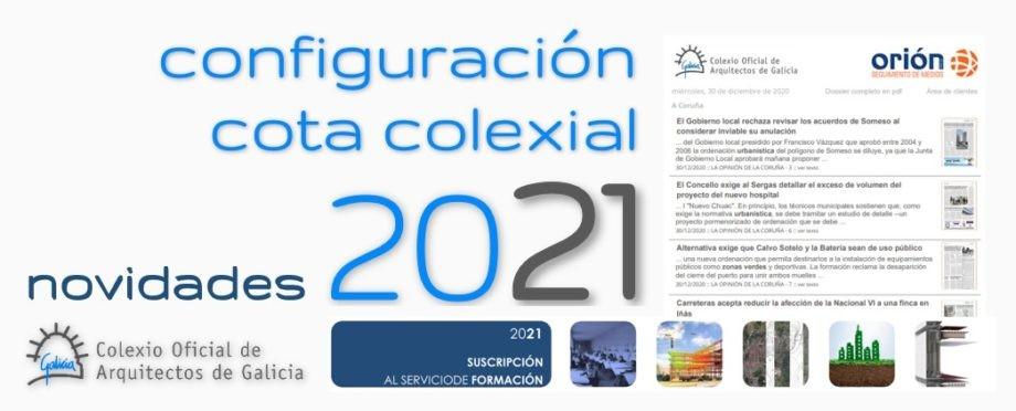 Novidades nos servizos da cota de colexiación para o ano 2021