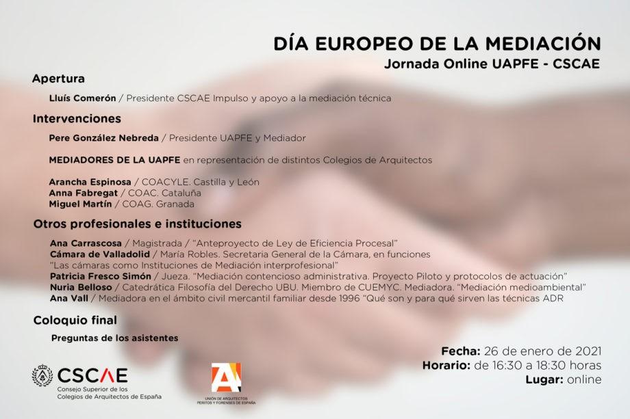 Jornada UAPFE – CSCAE «Día Europeo de la Mediación 2021»