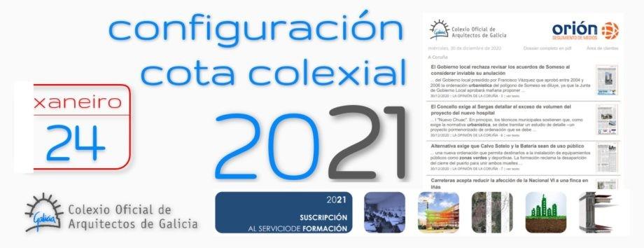 Últimos días para a configuración da cota de colexiación para o ano 2021