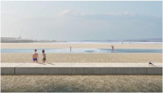 Premiados e finalistas do concurso de piscinas descubertas na praia da Concha_Compostela en Vilagarcía
