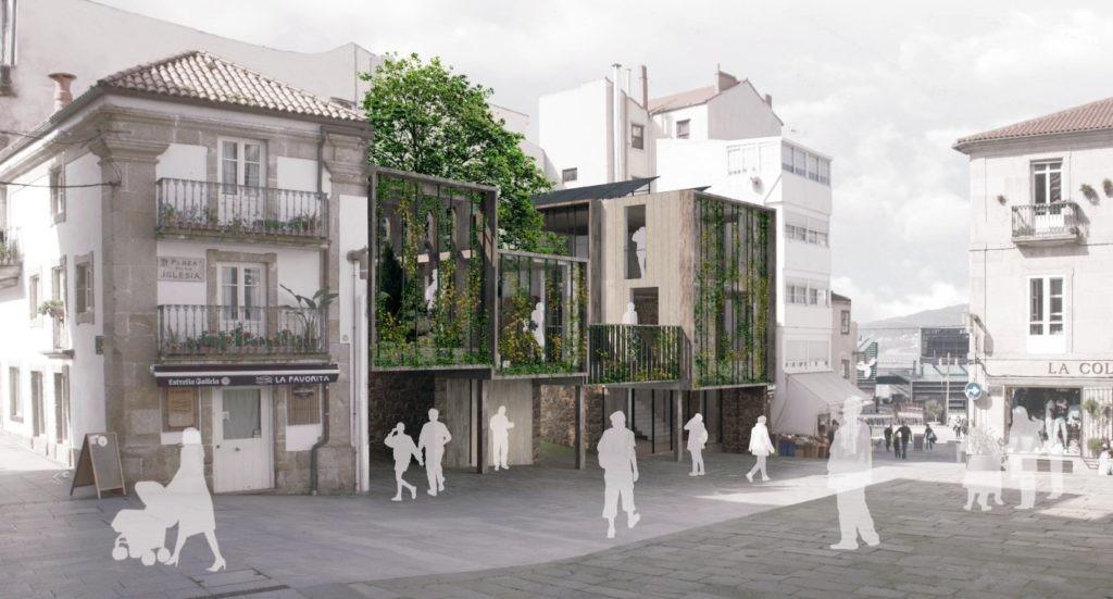 Segundo Premio do Concurso de proxectos para a reforma de edificacións na Praza da Igrexa de Vigo