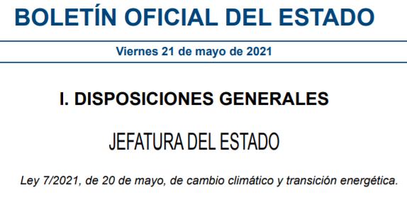 Publicación de la Ley de cambio climático y transición energética.