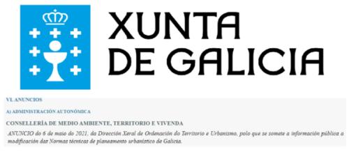 Información pública a modificación das Normas Técnicas de planeamento urbanístico de Galicia: achegas dos colexiados